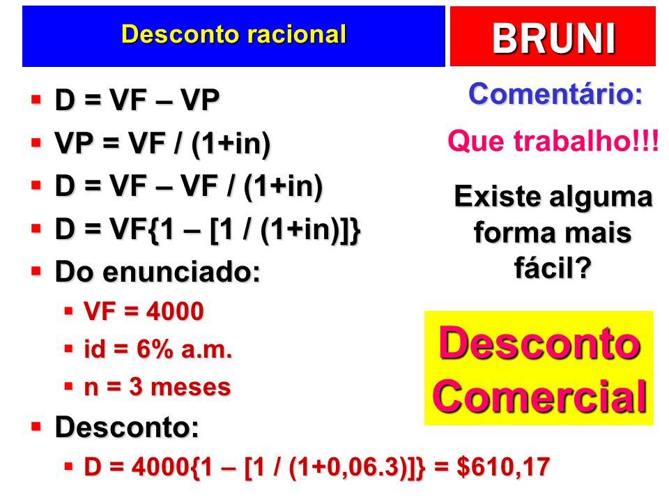 BRUNI Desconto racional D = VF – VP D = VF – VP VP = VF / (1+in) VP = VF / (1+in) D = VF – VF / (1+in) D = VF – VF / (1+in) D = VF{1 – [1 / (1+in)]} D = VF{1 – [1 / (1+in)]} Do enunciado: Do enunciado: VF = 4000 VF = 4000 id = 6% a.m.