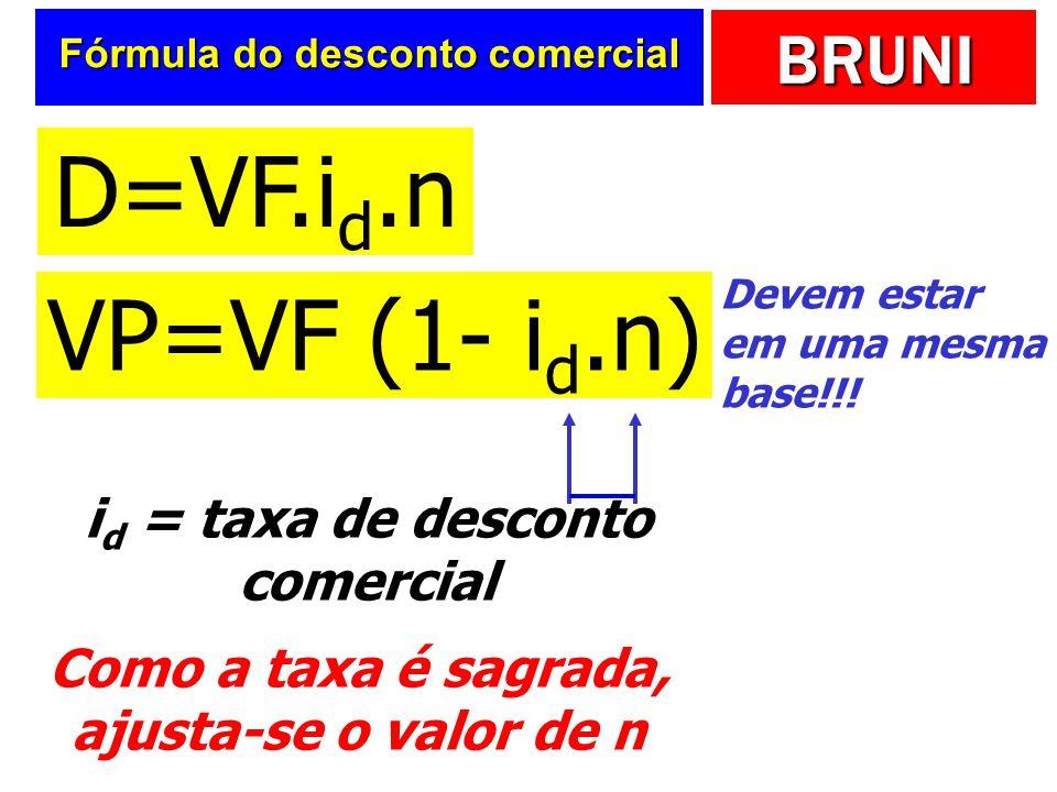 BRUNI Fórmula do desconto comercial VP=VF (1- i d.n) Devem estar em uma mesma base!!! Como a taxa é sagrada, ajusta-se o valor de n i d = taxa de desc