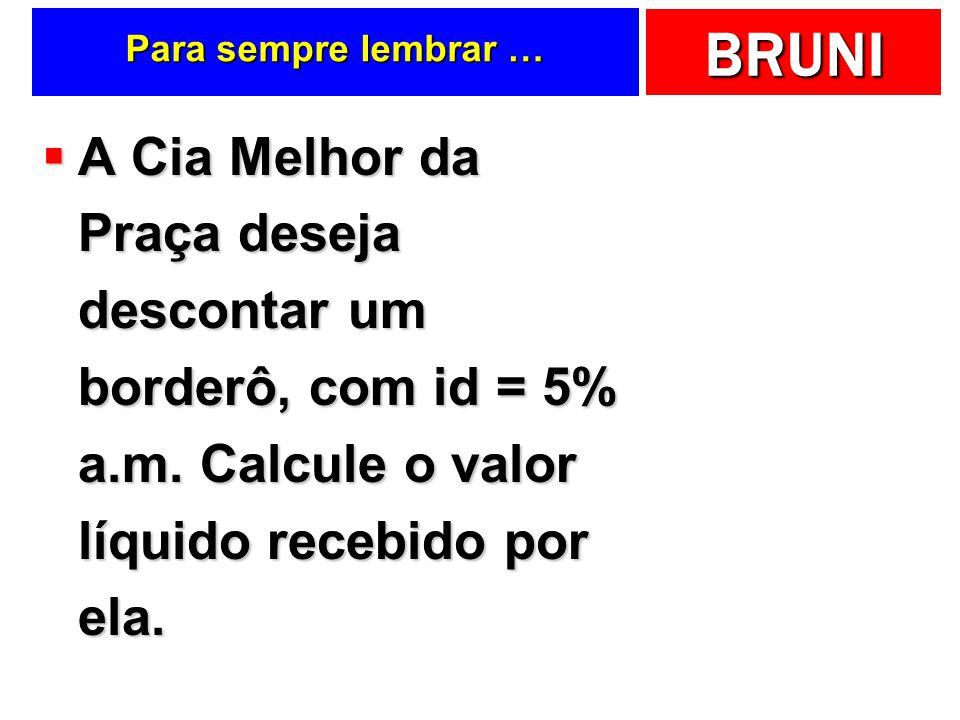 BRUNI Para sempre lembrar … A Cia Melhor da Praça deseja descontar um borderô, com id = 5% a.m.