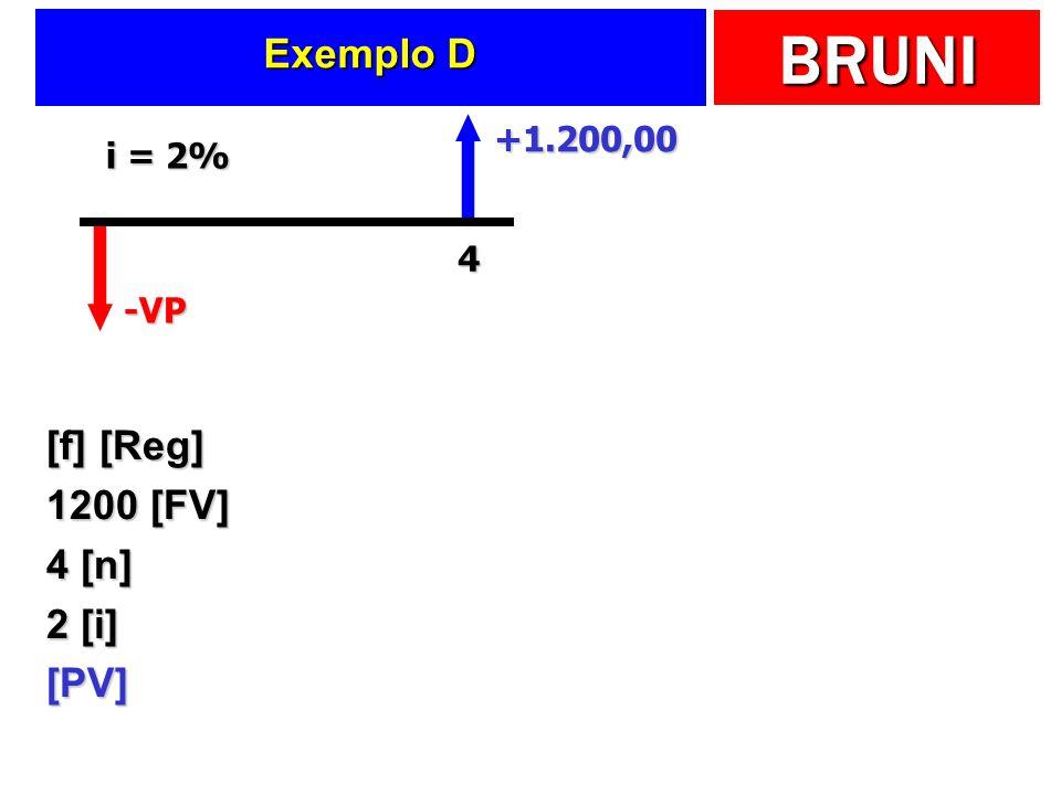 BRUNI Exemplo D [f] [Reg] 1200 [FV] 4 [n] 2 [i] [PV] -VP +1.200,00 4 i = 2%