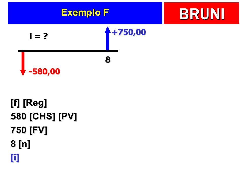 BRUNI Exemplo F [f] [Reg] 580 [CHS] [PV] 750 [FV] 8 [n] [i] -580,00 +750,00 8 i = ?