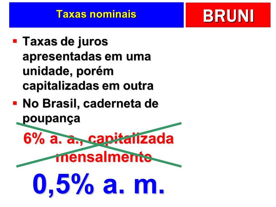 BRUNI Taxas de juros apresentadas em uma unidade, porém capitalizadas em outra Taxas de juros apresentadas em uma unidade, porém capitalizadas em outra No Brasil, caderneta de poupança No Brasil, caderneta de poupança 6% a.
