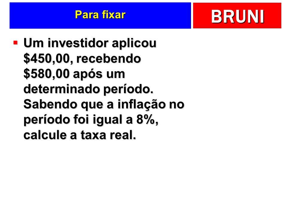 BRUNI Para fixar Um investidor aplicou $450,00, recebendo $580,00 após um determinado período. Sabendo que a inflação no período foi igual a 8%, calcu