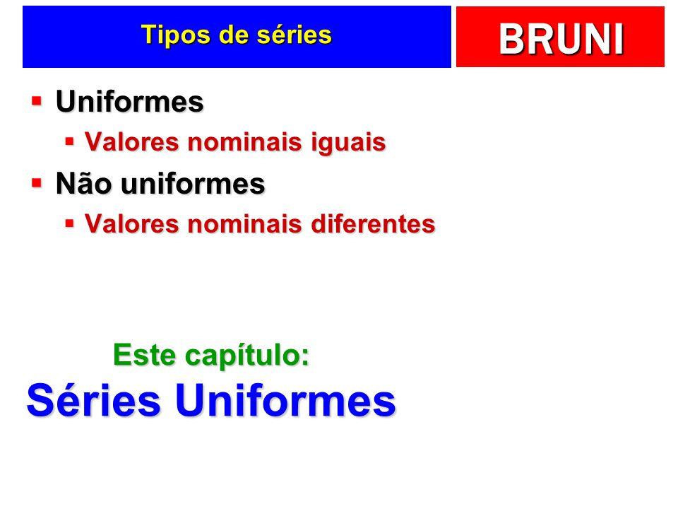 BRUNI Tipos de séries Uniformes Uniformes Valores nominais iguais Valores nominais iguais Não uniformes Não uniformes Valores nominais diferentes Valo