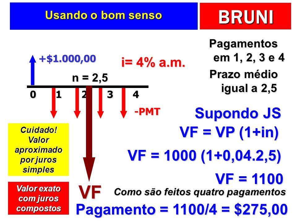 BRUNI Usando o bom senso Pagamentos em 1, 2, 3 e 4 Prazo médio igual a 2,5 +$1.000,0020143-PMT i= 4% a.m. n = 2,5 Supondo JS VF VF = VP (1+in) VF = 10