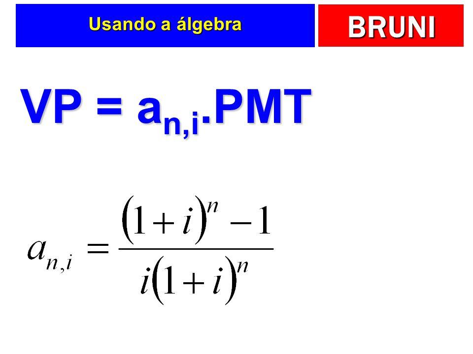 BRUNI Usando a álgebra VP = a n,i.PMT