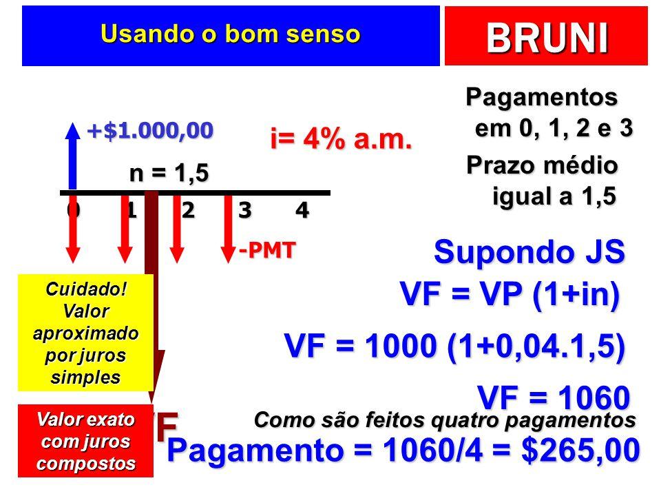 BRUNI Usando o bom senso Pagamentos em 0, 1, 2 e 3 Prazo médio igual a 1,5 +$1.000,0020143-PMT i= 4% a.m. n = 1,5 Supondo JS VF VF = VP (1+in) VF = 10