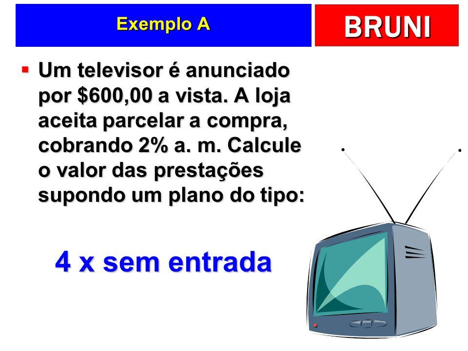 BRUNI Exemplo A Um televisor é anunciado por $600,00 a vista. A loja aceita parcelar a compra, cobrando 2% a. m. Calcule o valor das prestações supond