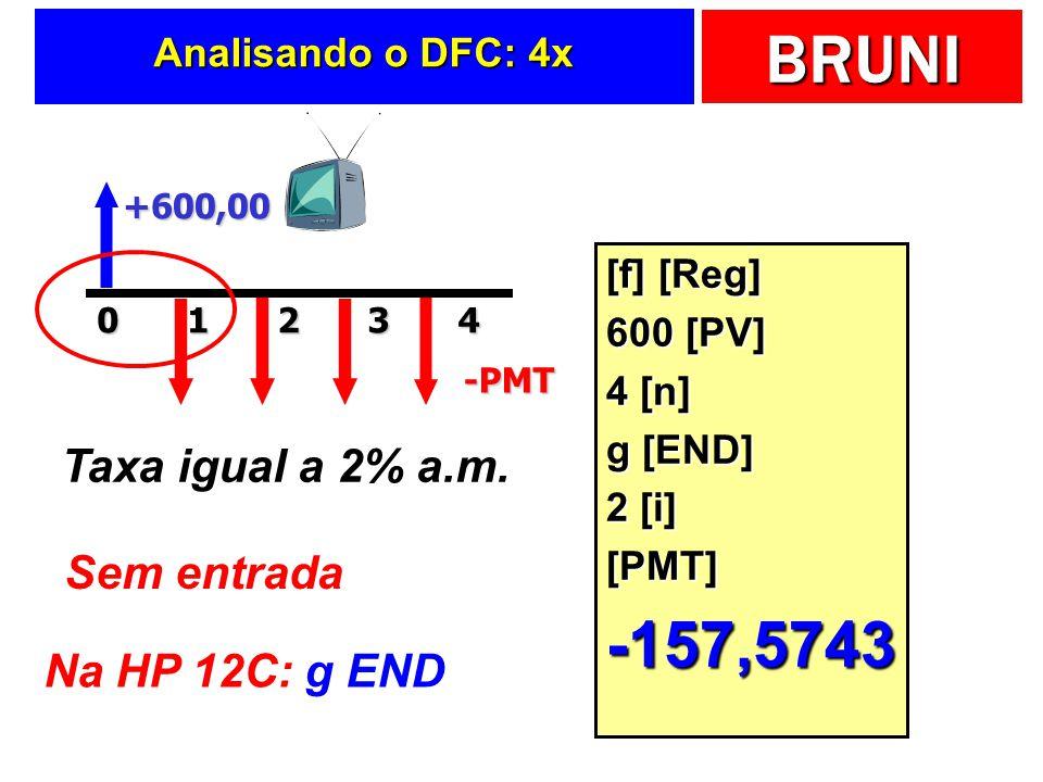 BRUNI Analisando o DFC: 4x +600,0020143-PMT Taxa igual a 2% a.m. Sem entrada Na HP 12C: g END [f] [Reg] 600 [PV] 4 [n] g [END] 2 [i] [PMT]-157,5743