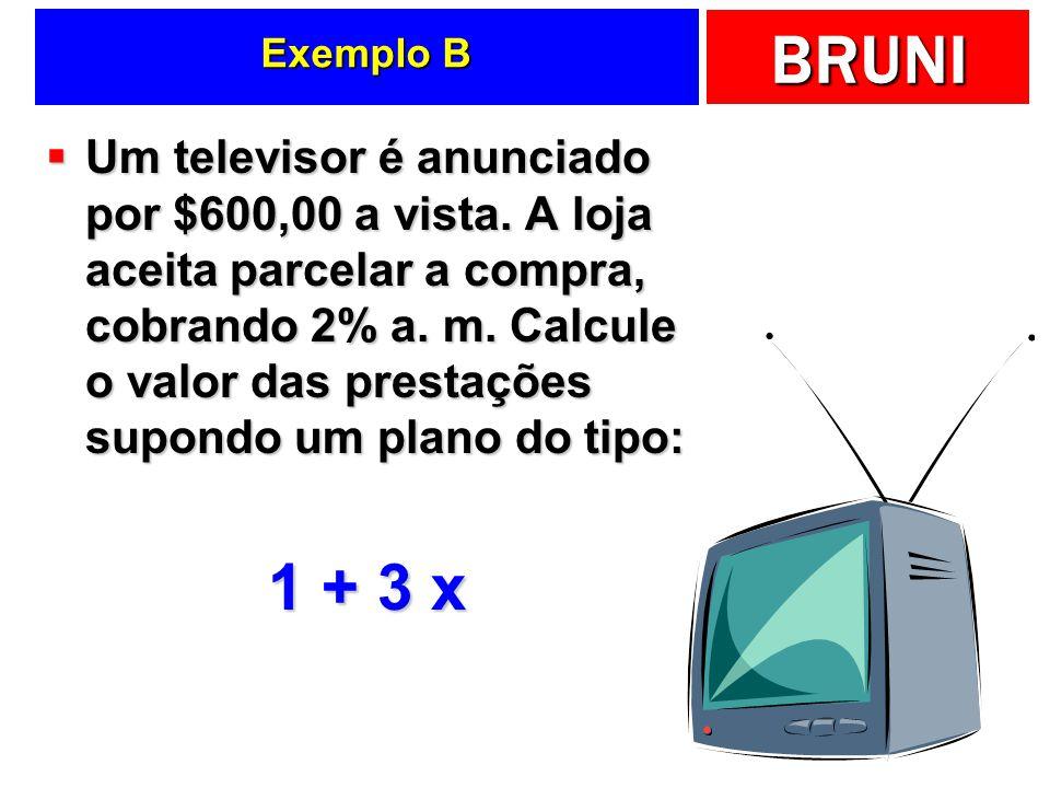 BRUNI Exemplo B Um televisor é anunciado por $600,00 a vista. A loja aceita parcelar a compra, cobrando 2% a. m. Calcule o valor das prestações supond