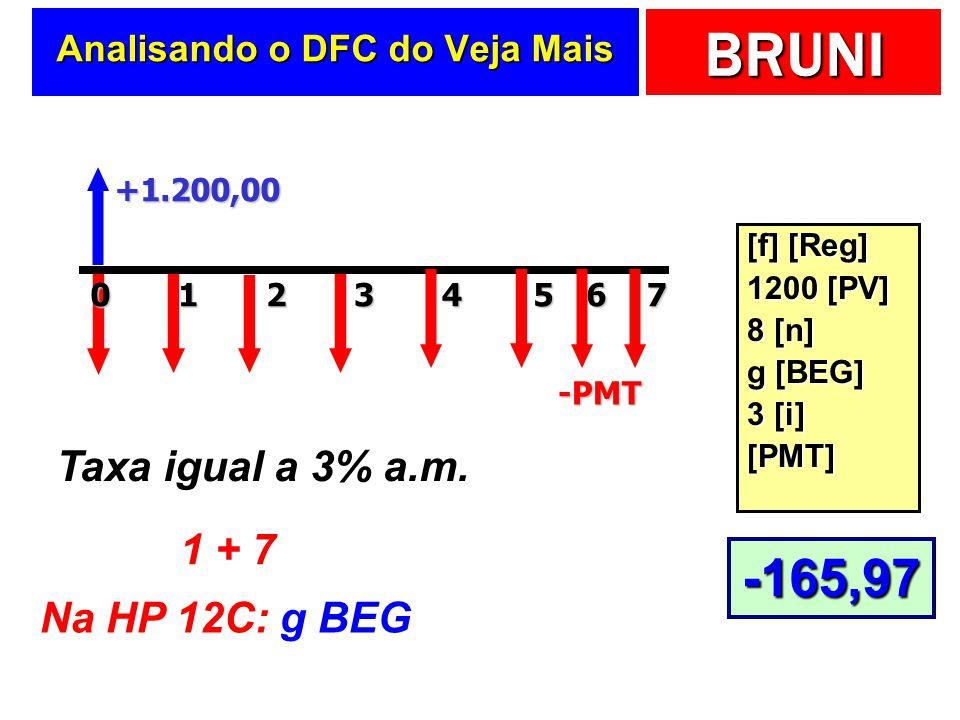 BRUNI Analisando o DFC do Veja Mais +1.200,00 20143 -PMT Taxa igual a 3% a.m. 1 + 7 Na HP 12C: g BEG [f] [Reg] 1200 [PV] 8 [n] g [BEG] 3 [i] [PMT] 567