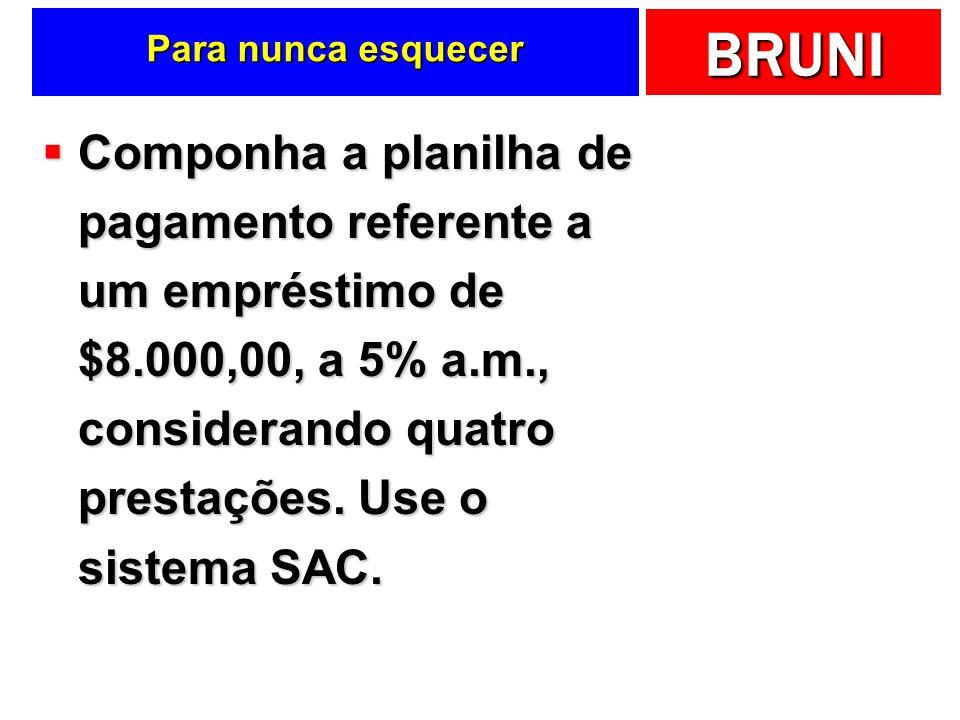 BRUNI Para nunca esquecer Componha a planilha de pagamento referente a um empréstimo de $8.000,00, a 5% a.m., considerando quatro prestações.