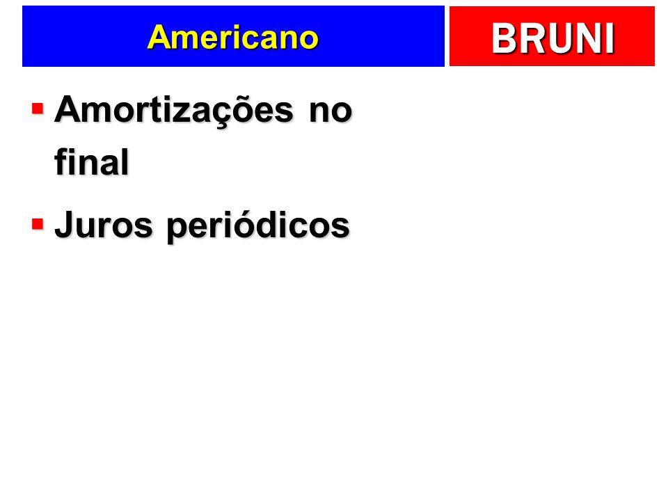 BRUNI Americano Amortizações no final Amortizações no final Juros periódicos Juros periódicos