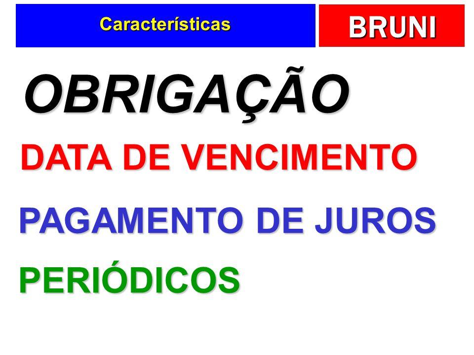 BRUNI Características OBRIGAÇÃO DATA DE VENCIMENTO PAGAMENTO DE JUROS PERIÓDICOS
