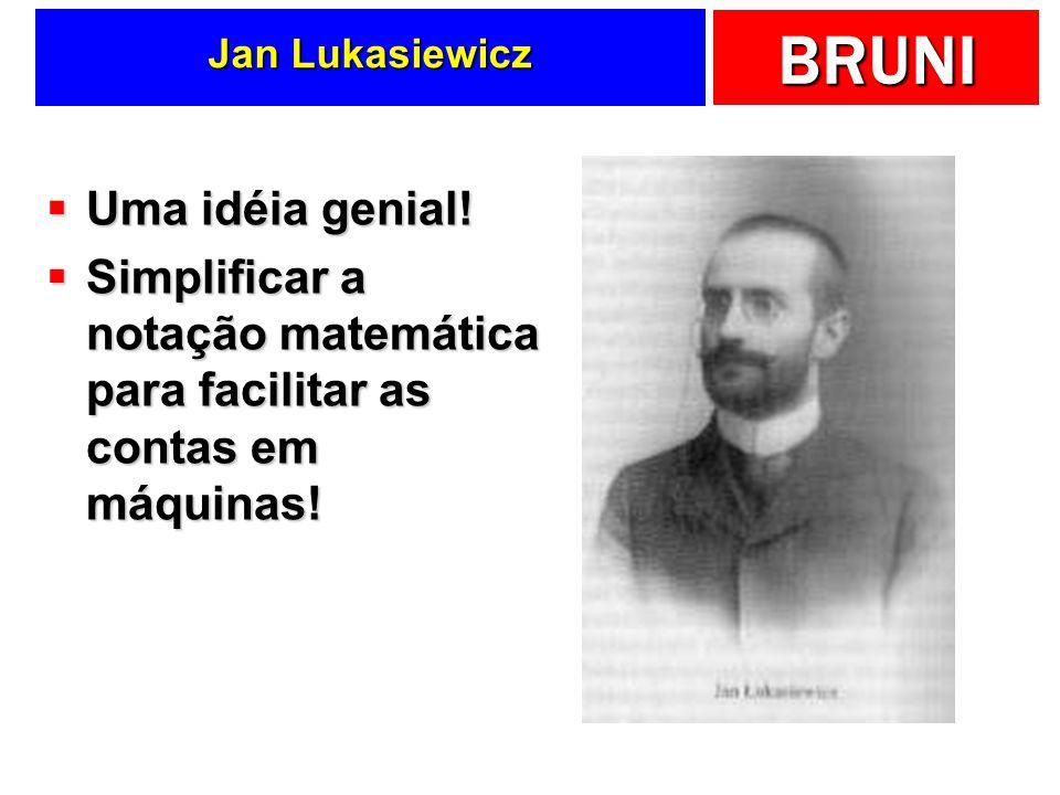 BRUNI Jan Lukasiewicz Uma idéia genial! Uma idéia genial! Simplificar a notação matemática para facilitar as contas em máquinas! Simplificar a notação