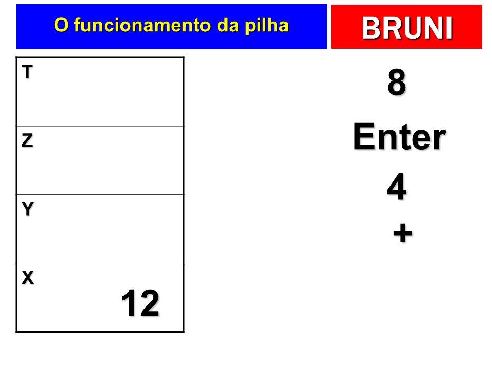 BRUNI O funcionamento da pilha T Z Y X 8 Enter 8 8 4 4 + 12