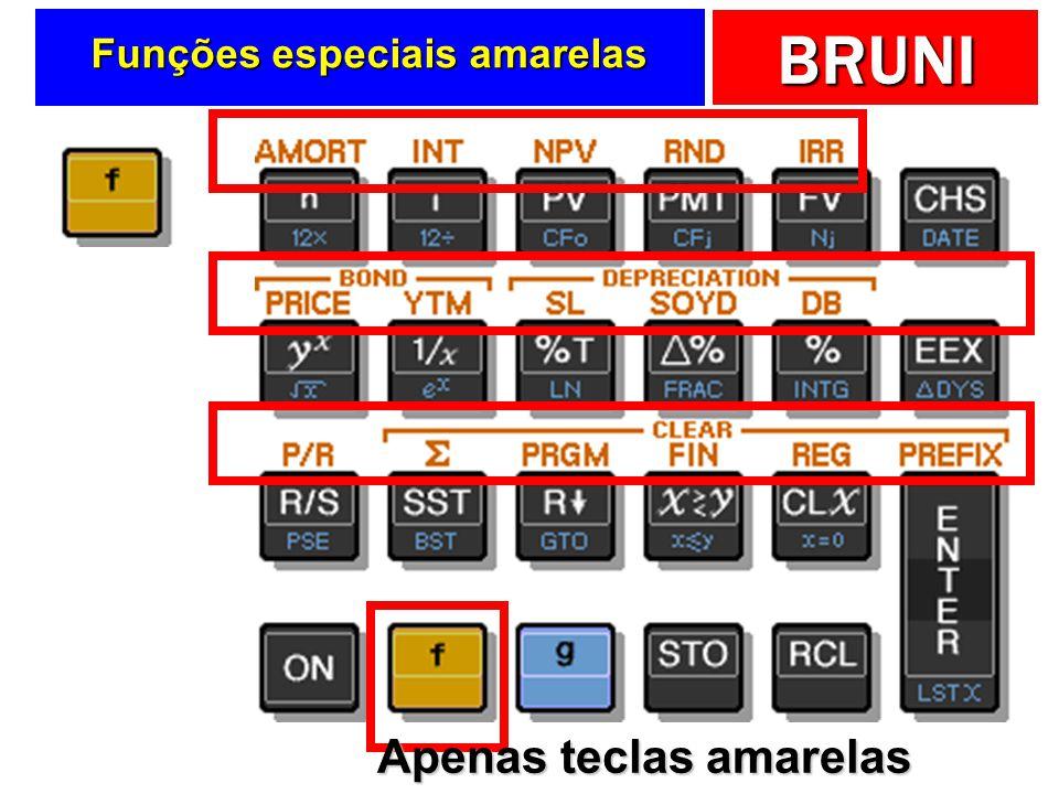 BRUNI Funções especiais amarelas Apenas teclas amarelas