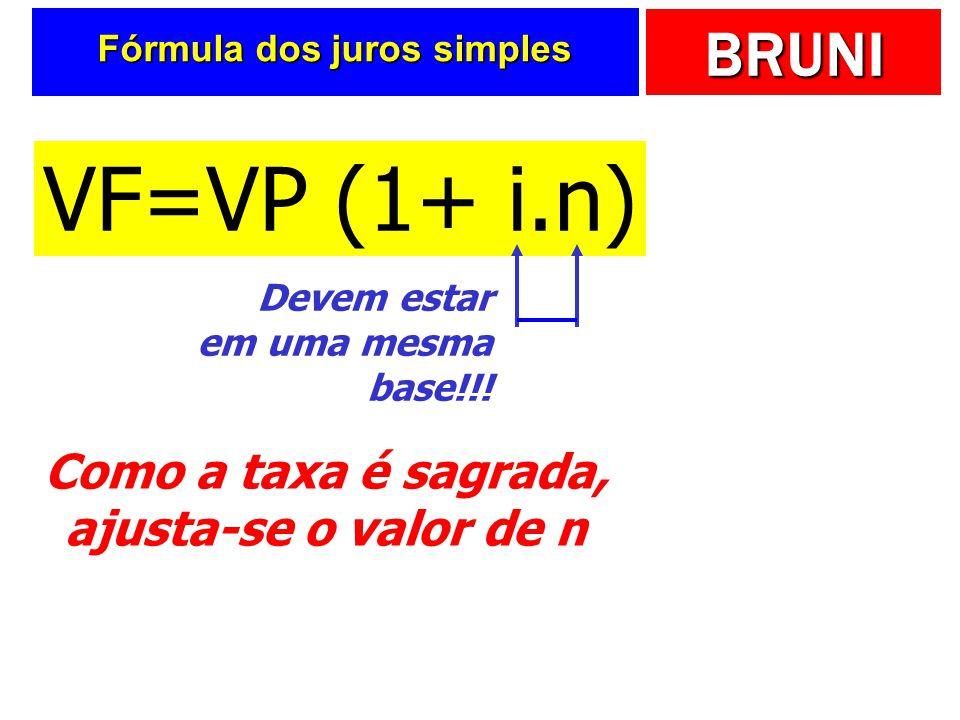 BRUNI Fórmula dos juros simples VF=VP (1+ i.n) Devem estar em uma mesma base!!.