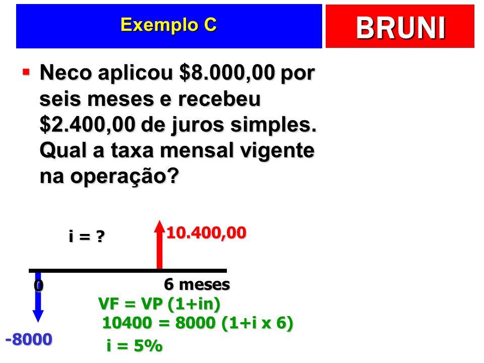 BRUNI Exemplo C Neco aplicou $8.000,00 por seis meses e recebeu $2.400,00 de juros simples. Qual a taxa mensal vigente na operação? Neco aplicou $8.00
