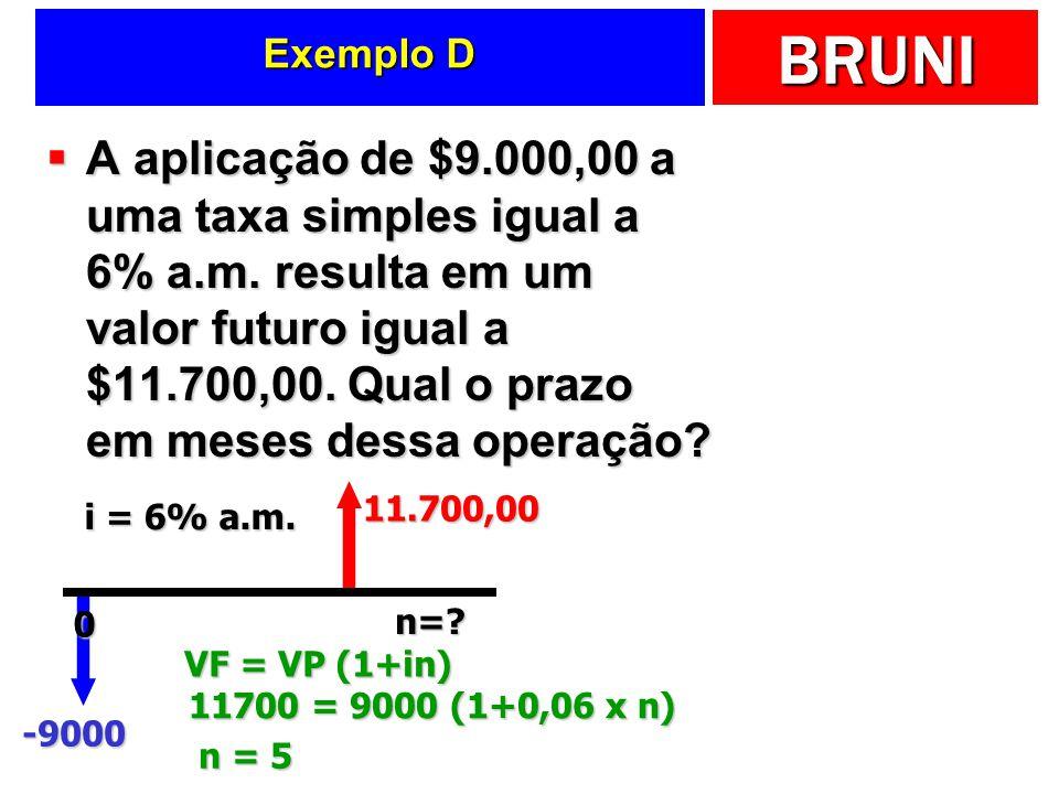 BRUNI Exemplo D A aplicação de $9.000,00 a uma taxa simples igual a 6% a.m. resulta em um valor futuro igual a $11.700,00. Qual o prazo em meses dessa