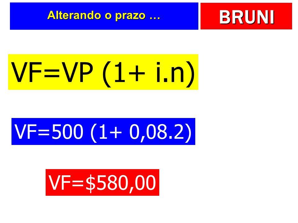 BRUNI Alterando o prazo … VF=VP (1+ i.n) VF=500 (1+ 0,08.2) VF=$580,00