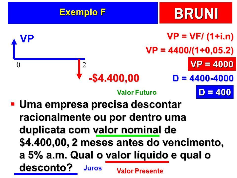 BRUNI Exemplo F Uma empresa precisa descontar racionalmente ou por dentro uma duplicata com valor nominal de $4.400,00, 2 meses antes do vencimento, a 5% a.m.
