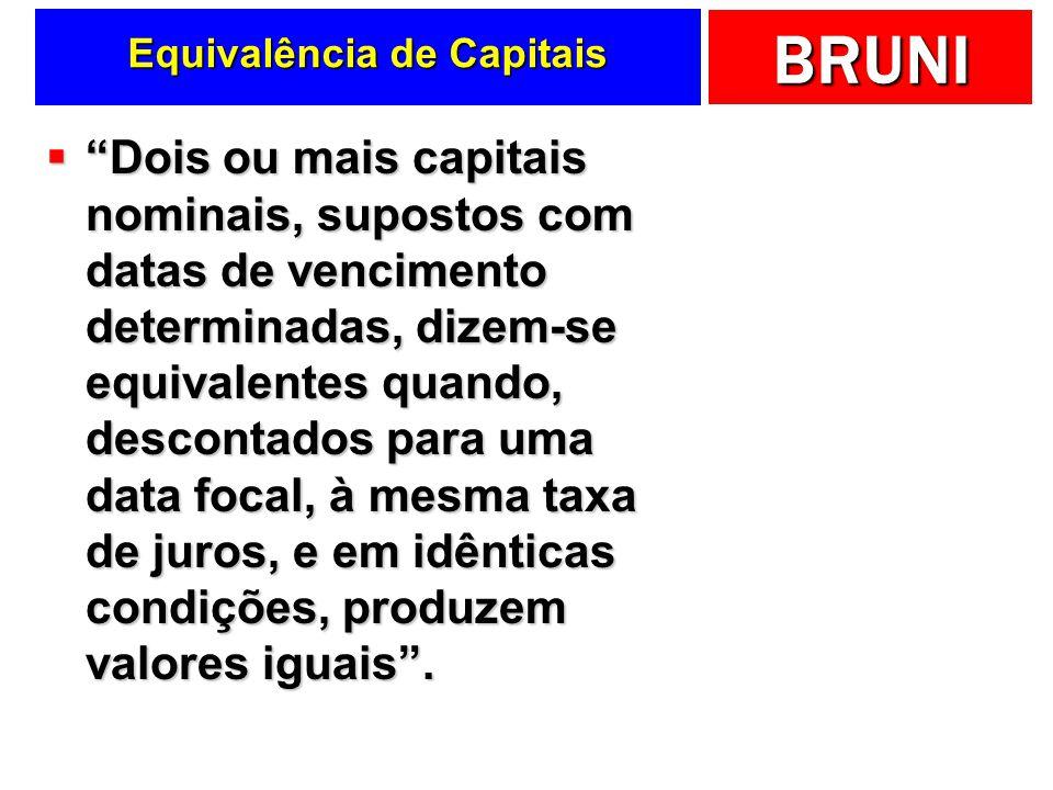 BRUNI Equivalência de Capitais Dois ou mais capitais nominais, supostos com datas de vencimento determinadas, dizem-se equivalentes quando, descontado
