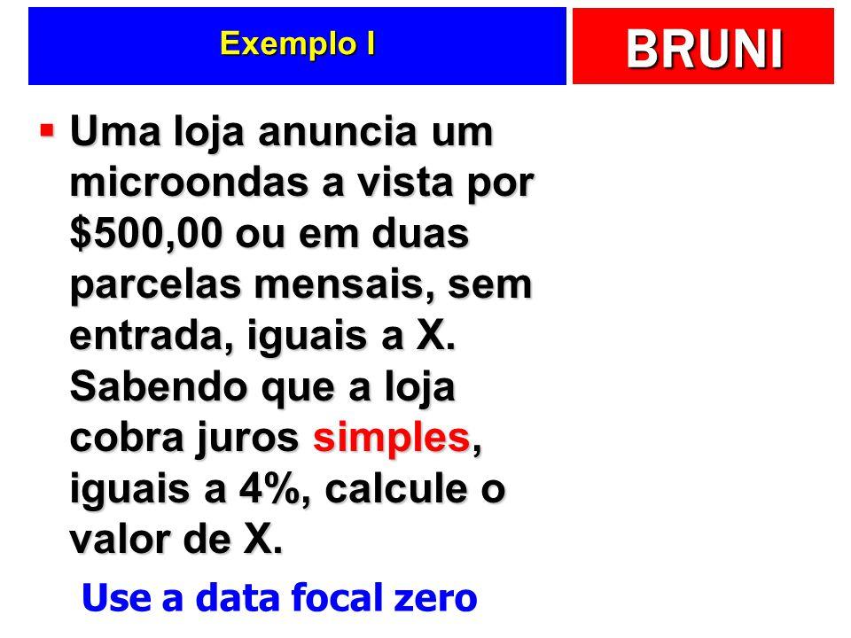 BRUNI Exemplo I Uma loja anuncia um microondas a vista por $500,00 ou em duas parcelas mensais, sem entrada, iguais a X.