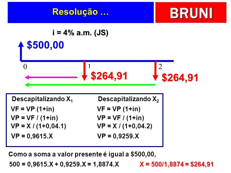 BRUNI Resolução … -X $500,00 012 i = 4% a.m. (JS) Descapitalizando X 1 VF = VP (1+in) VP = VF / (1+in) VP = X / (1+0,04.1) VP = 0,9615.X Descapitaliza