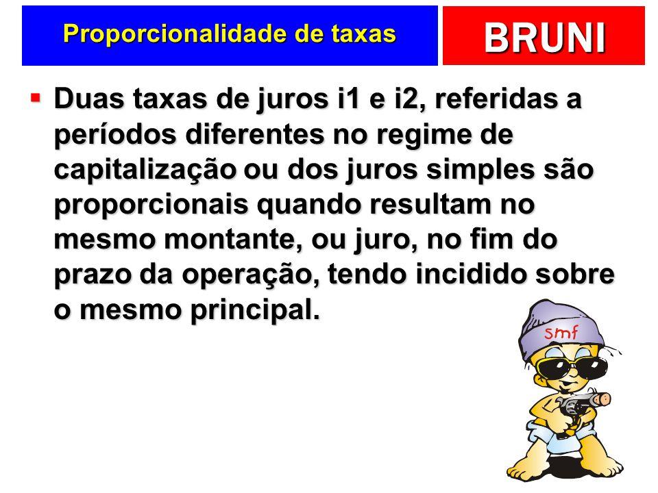 BRUNI Proporcionalidade de taxas Duas taxas de juros i1 e i2, referidas a períodos diferentes no regime de capitalização ou dos juros simples são prop