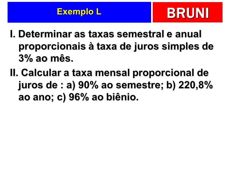 BRUNI Exemplo L I. Determinar as taxas semestral e anual proporcionais à taxa de juros simples de 3% ao mês. II. Calcular a taxa mensal proporcional d
