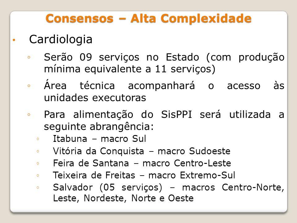 Cardiologia Serão 09 serviços no Estado (com produção mínima equivalente a 11 serviços) Área técnica acompanhará o acesso às unidades executoras Para