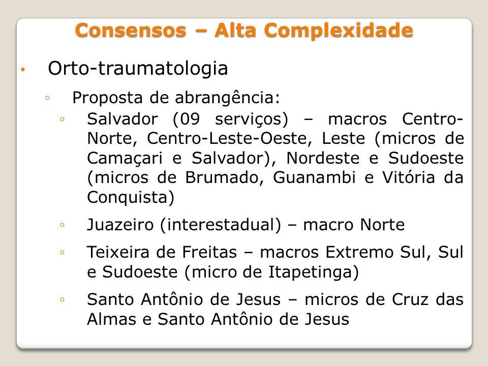 Orto-traumatologia Proposta de abrangência: Salvador (09 serviços) – macros Centro- Norte, Centro-Leste-Oeste, Leste (micros de Camaçari e Salvador),