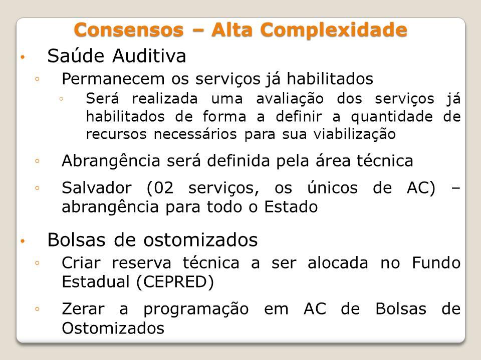 Saúde Auditiva Permanecem os serviços já habilitados Será realizada uma avaliação dos serviços já habilitados de forma a definir a quantidade de recur