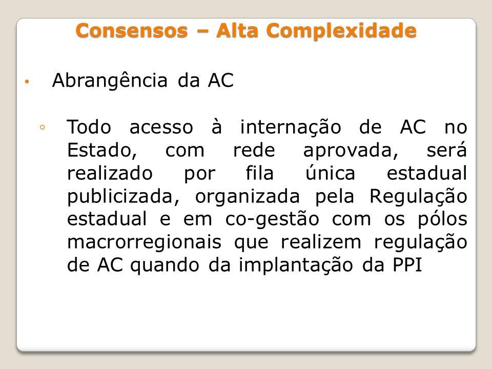Abrangência da AC Todo acesso à internação de AC no Estado, com rede aprovada, será realizado por fila única estadual publicizada, organizada pela Reg