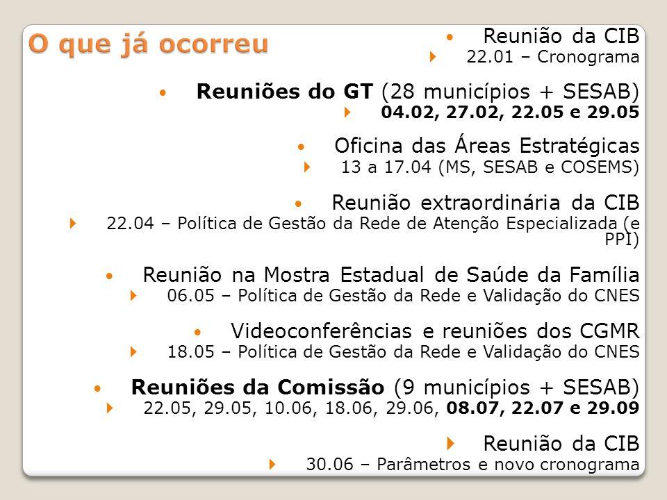 Reunião da CIB 22.01 – Cronograma Reuniões do GT (28 municípios + SESAB) 04.02, 27.02, 22.05 e 29.05 Oficina das Áreas Estratégicas 13 a 17.04 (MS, SE