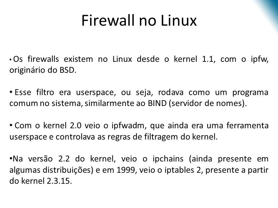 Os firewalls existem no Linux desde o kernel 1.1, com o ipfw, originário do BSD.
