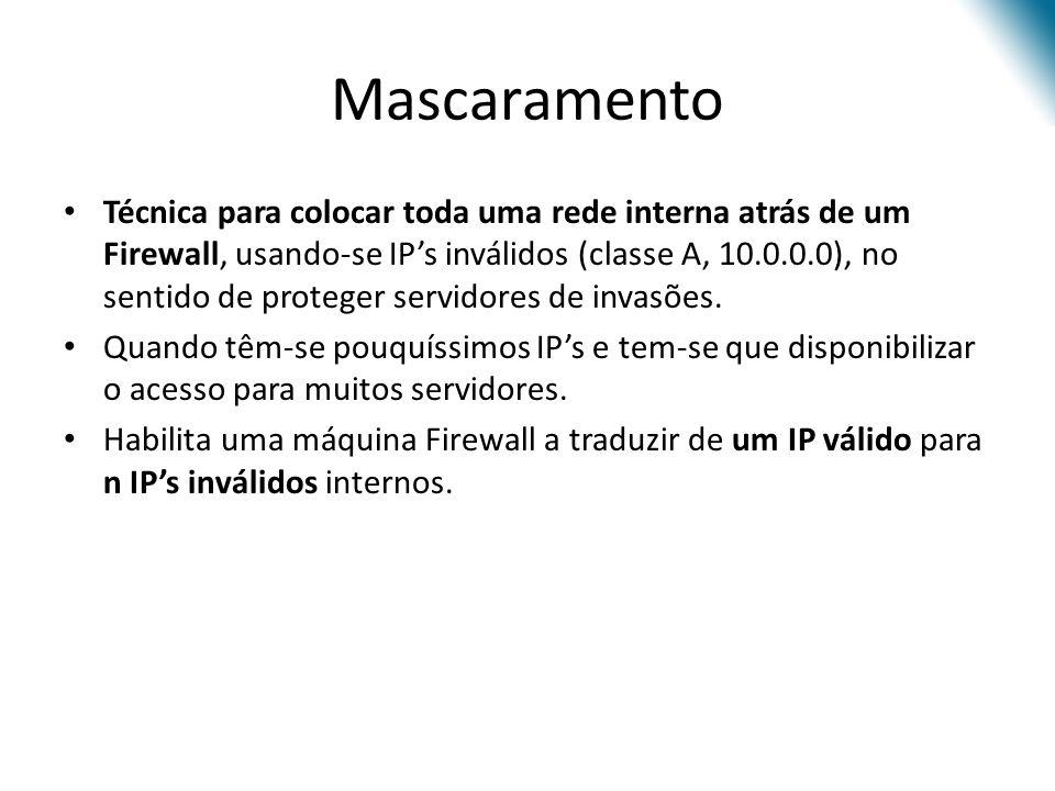 Mascaramento Técnica para colocar toda uma rede interna atrás de um Firewall, usando-se IPs inválidos (classe A, 10.0.0.0), no sentido de proteger servidores de invasões.