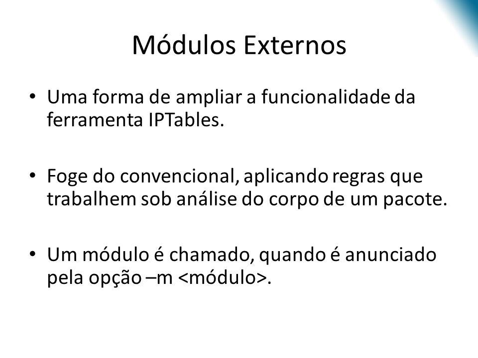 Módulos Externos Uma forma de ampliar a funcionalidade da ferramenta IPTables.