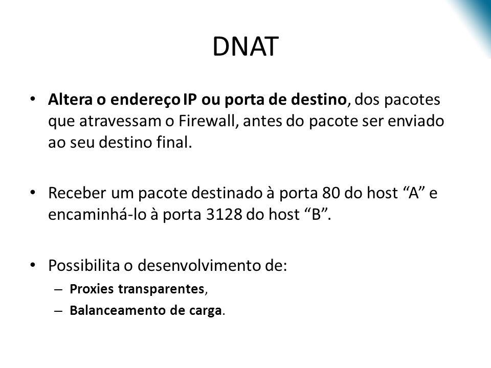 DNAT Altera o endereço IP ou porta de destino, dos pacotes que atravessam o Firewall, antes do pacote ser enviado ao seu destino final.