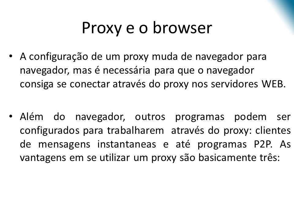 A configuração de um proxy muda de navegador para navegador, mas é necessária para que o navegador consiga se conectar através do proxy nos servidores WEB.