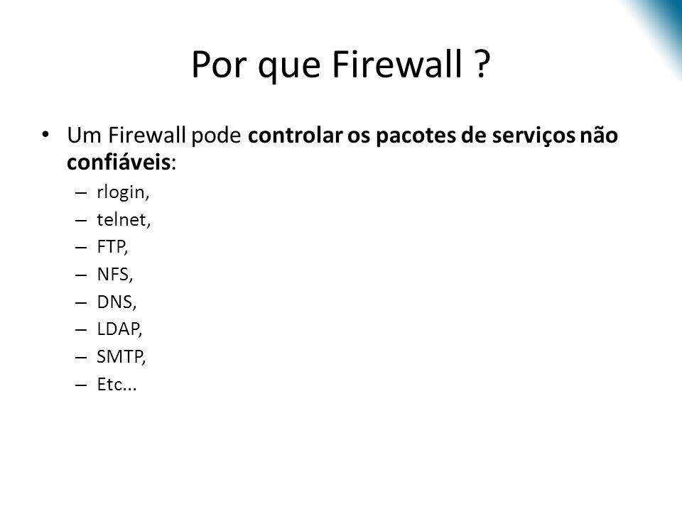 Kernel e Firewall Tudo o que chega ou sai de um computador é processado pelo kernel do sistema operacional desse computador.