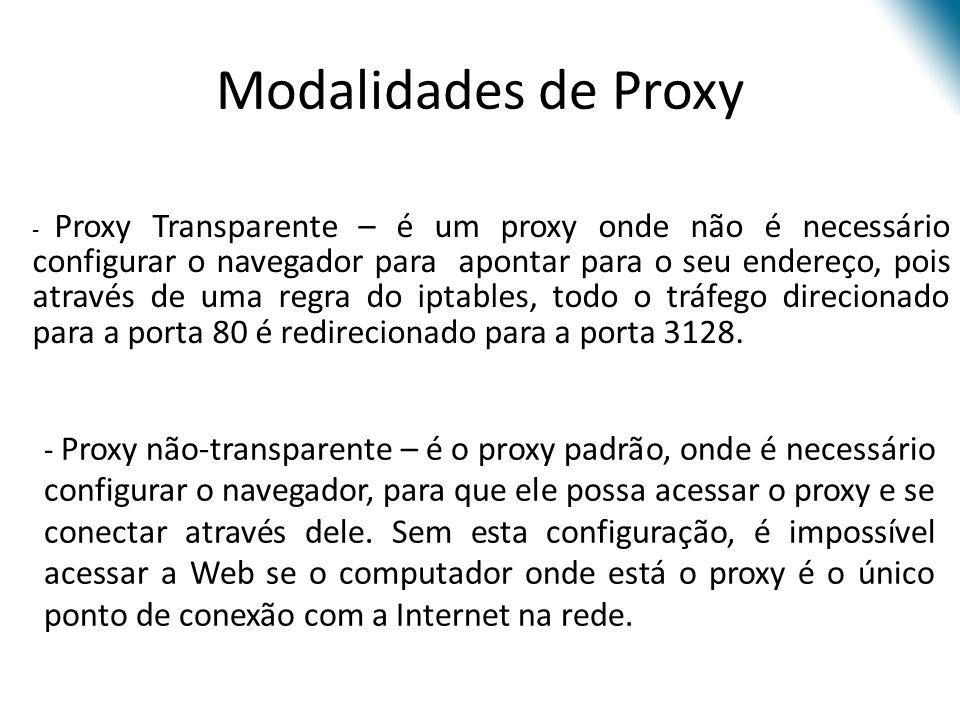 - Proxy não-transparente – é o proxy padrão, onde é necessário configurar o navegador, para que ele possa acessar o proxy e se conectar através dele.