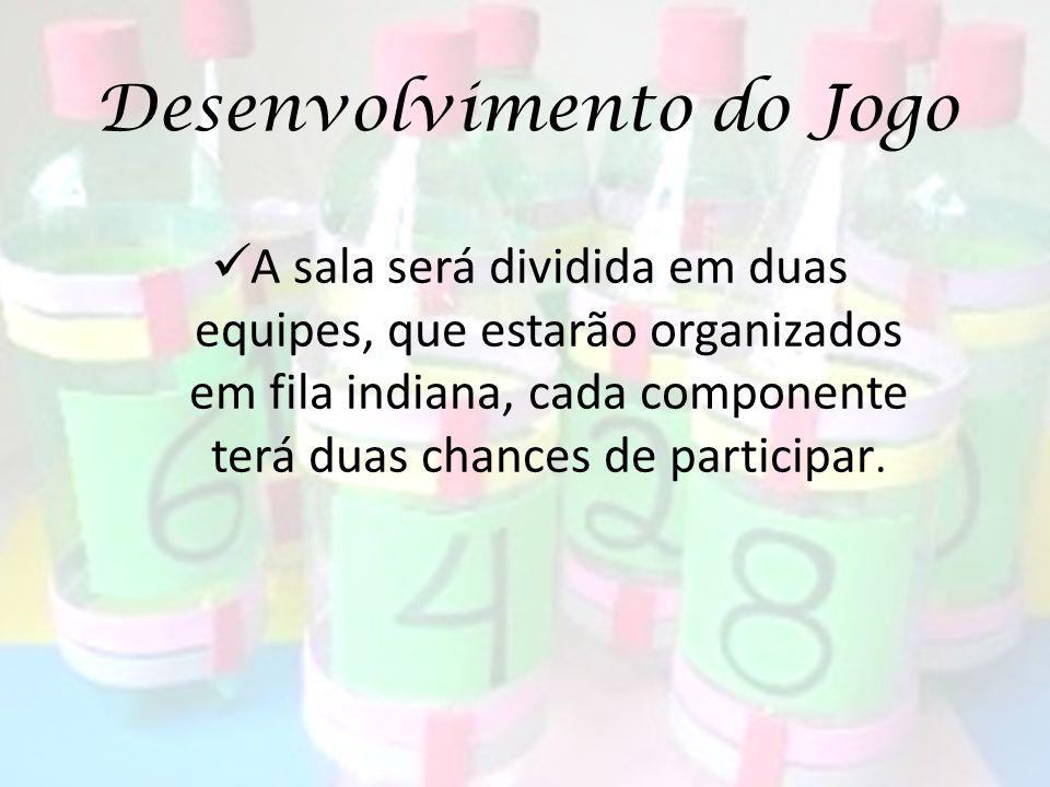 Desenvolvimento do Jogo A sala será dividida em duas equipes, que estarão organizados em fila indiana, cada componente terá duas chances de participar