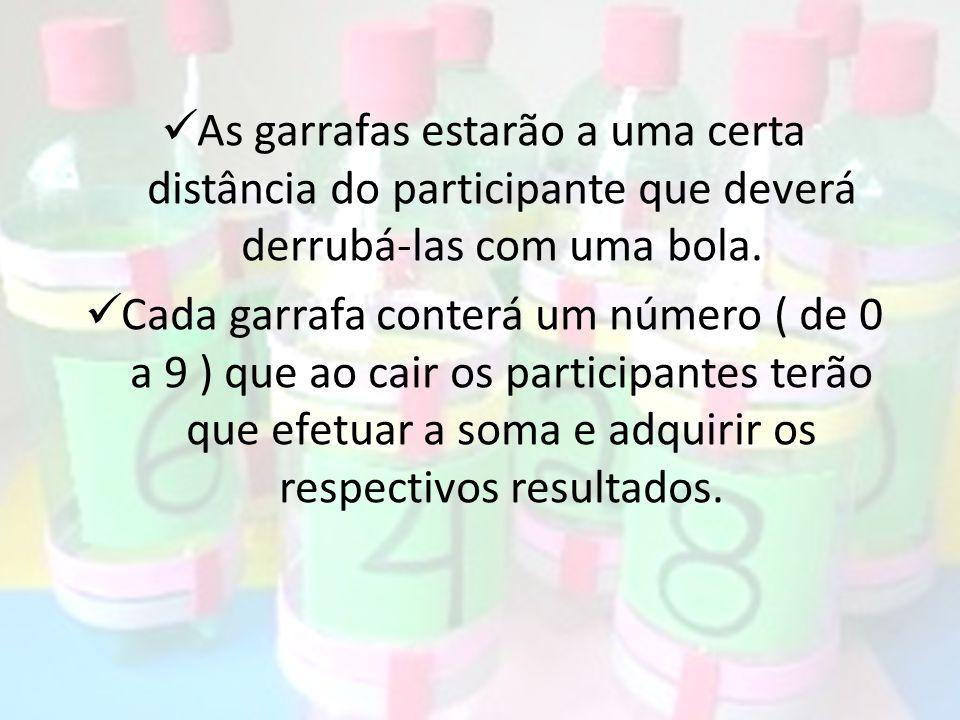 As garrafas estarão a uma certa distância do participante que deverá derrubá-las com uma bola. Cada garrafa conterá um número ( de 0 a 9 ) que ao cair