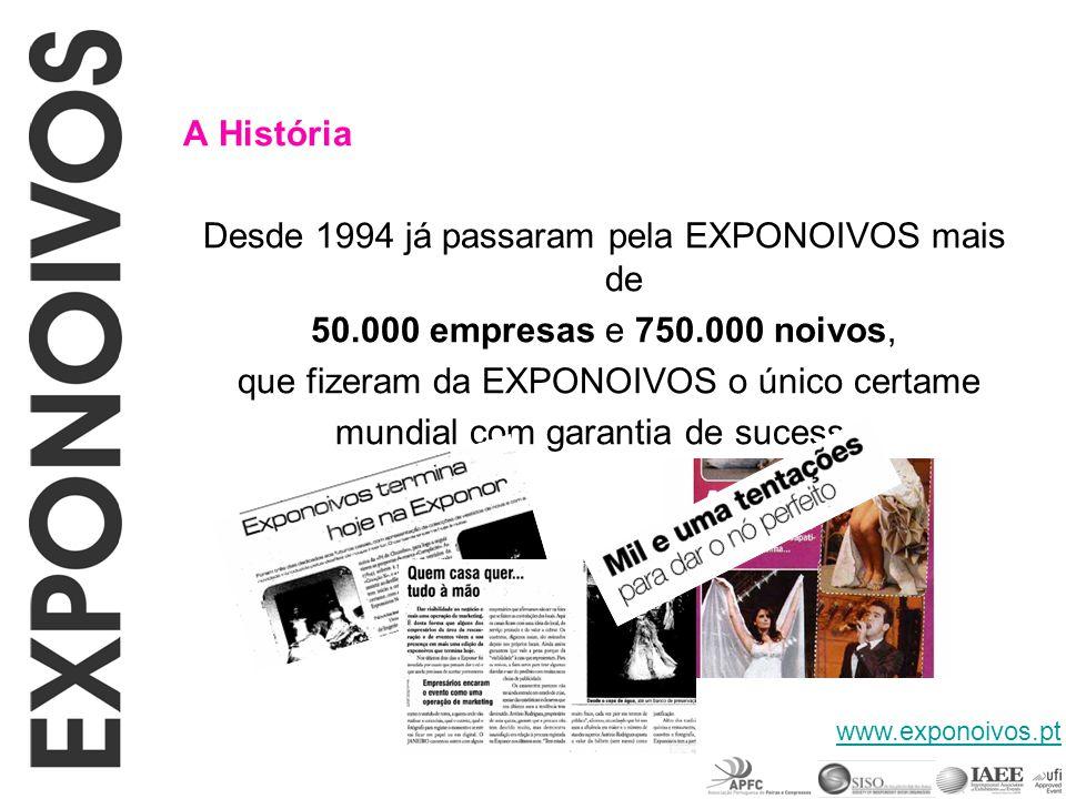 A História Desde 1994 já passaram pela EXPONOIVOS mais de 50.000 empresas e 750.000 noivos, que fizeram da EXPONOIVOS o único certame mundial com gara