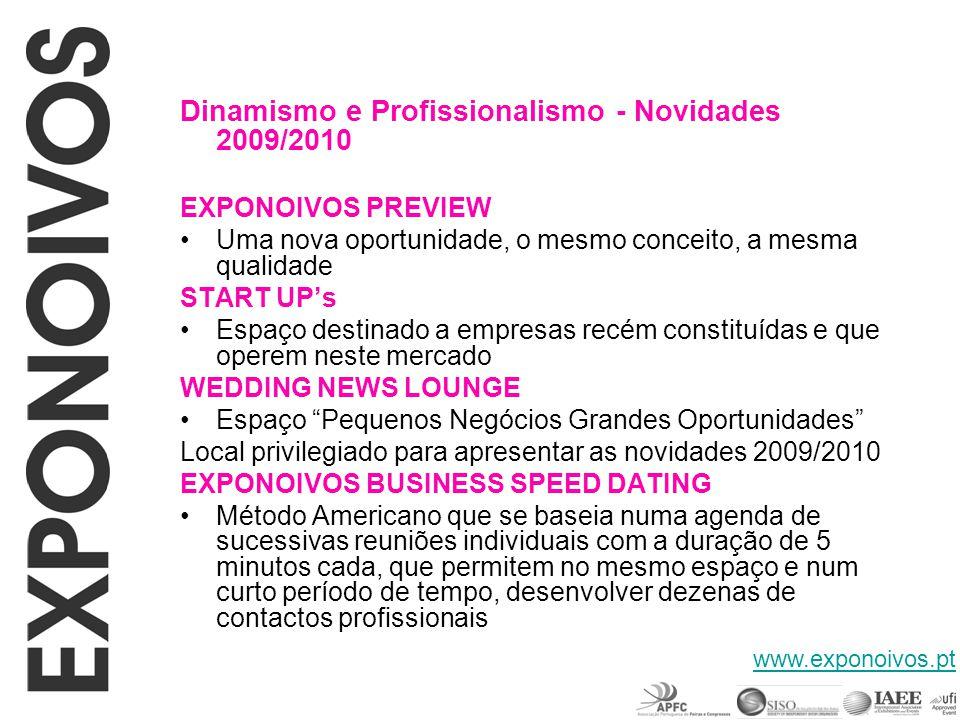 Marque já na sua agenda Calendário Exponoivos 2009/2010 EXPONOIVOS PREVIEW 31 de Outubro a 1 de Novembro – Exponor - Porto EXPONOIVOS 8 a 10 de Janeiro 2010 – FIL - Lisboa EXPONOIVOS Norte 15 a 17 de Janeiro 2010 – Exponor - Porto www.exponoivos.pt
