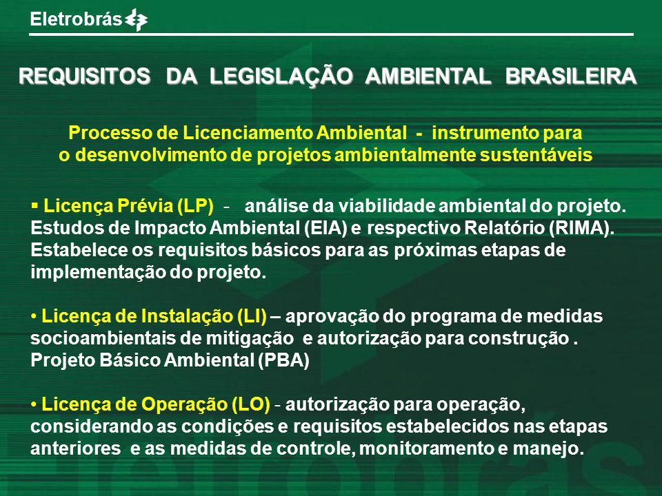 Eletrobrás Processo de Licenciamento Ambiental - instrumento para o desenvolvimento de projetos ambientalmente sustentáveis REQUISITOS DA LEGISLAÇÃO A