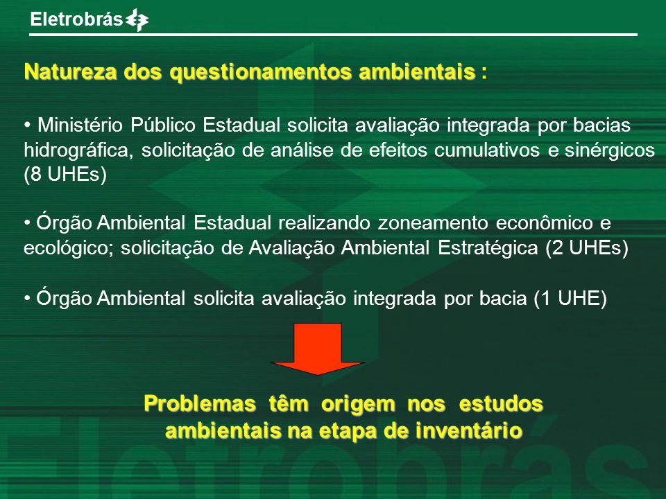 Eletrobrás Natureza dos questionamentos ambientais Natureza dos questionamentos ambientais : Ministério Público Estadual solicita avaliação integrada