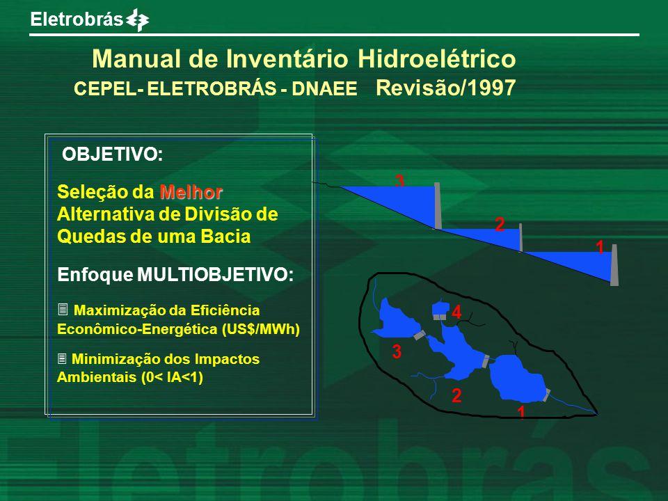 Eletrobrás OBJETIVO: Melhor Seleção da Melhor Alternativa de Divisão de Quedas de uma Bacia Enfoque MULTIOBJETIVO: 3 Maximização da Eficiência Econômi